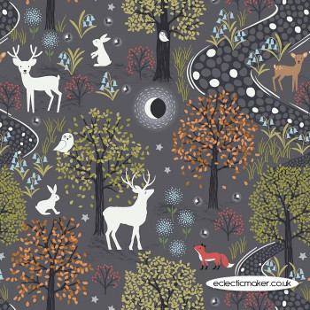 Lewis and Irene Fabrics - Nighttime in Bluebell Wood - Glow in the Woods Nighttime