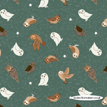 Lewis and Irene Fabrics - Nighttime in Bluebell Wood - Glow Owls on Woodland Green