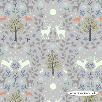Lewis and Irene Fabrics - Nighttime in Bluebell Wood - Mirrored Woodland on Grey