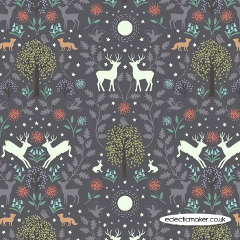 Lewis and Irene Fabrics - Nighttime in Bluebell Wood - Mirrored Woodland on Nighttime