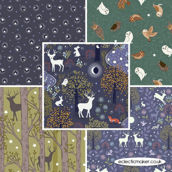 Lewis and Irene - Nighttime in Bluebell Wood - Fabric Bundle in Midnight Blue