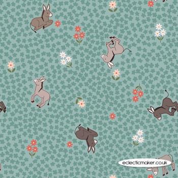 Lewis and Irene Fabrics - Piggy Tales - Dinky Donkey on Dark Duck Egg