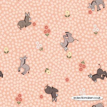 Lewis and Irene Fabrics - Piggy Tales - Dinky Donkey on Peach
