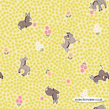 Lewis and Irene Fabrics - Piggy Tales - Dinky Donkey on Yellow