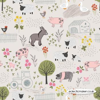 Lewis and Irene Fabrics - Piggy Tales - Farmyard on Dark Cream