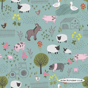 Lewis and Irene Fabrics - Piggy Tales - Farmyard on Duck Egg