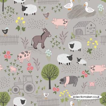 Lewis and Irene Fabrics - Piggy Tales - Farmyard on Mid Grey