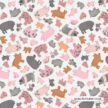 Lewis and Irene Fabrics - Piggy Tales - Piggies on Cream