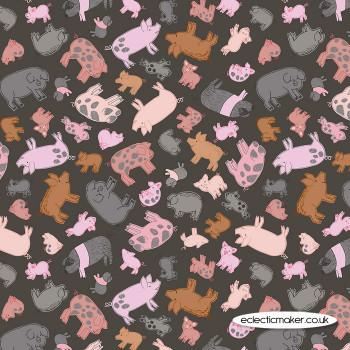 Lewis and Irene Fabrics - Piggy Tales - Piggies on Dark Mud