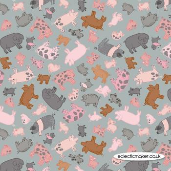 Lewis and Irene Fabrics - Piggy Tales - Piggies on Grey