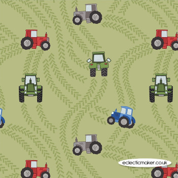 Lewis and Irene Fabrics - Piggy Tales - Tractor Trails on Green