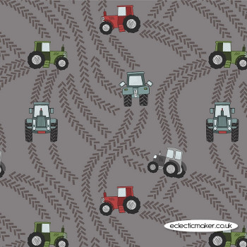 Lewis and Irene Fabrics - Piggy Tales - Tractor Trails on Muddy Grey