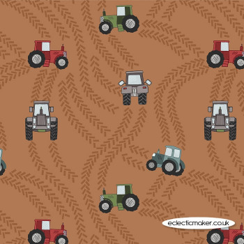 Lewis and Irene Fabrics - Piggy Tales - Tractor Trails on Rust
