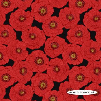Lewis and Irene Fabrics - Poppies - Large Poppy on Black