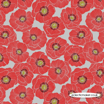 Lewis and Irene Fabrics - Poppies - Large Poppy on Light Grey