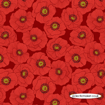 Lewis and Irene Fabrics - Poppies - Large Poppy on Red