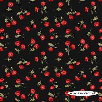 Lewis and Irene Fabrics - Poppies - Little Poppies on Black