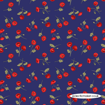 Lewis and Irene Fabrics - Poppies - Little Poppies on Blue