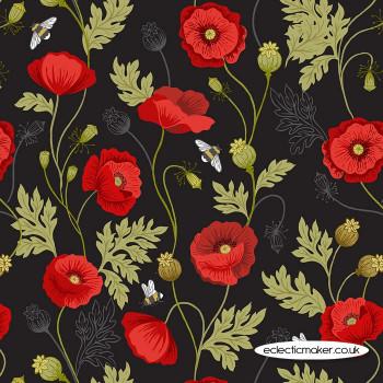 Lewis and Irene Fabrics - Poppies - Poppy & Bee on Black