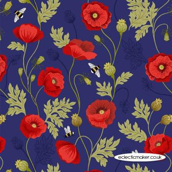 Lewis and Irene Fabrics - Poppies - Poppy & Bee on Blue