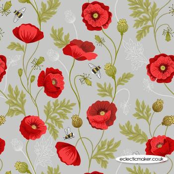 Lewis and Irene Fabrics - Poppies - Poppy & Bee on Light Grey