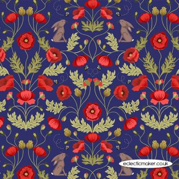 Lewis and Irene Fabrics - Poppies - Poppy & Hare on Blue