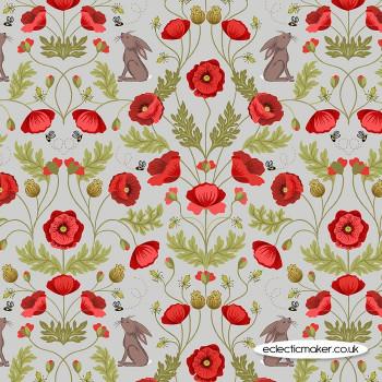 Lewis and Irene Fabrics - Poppies - Poppy & Hare on Light Grey