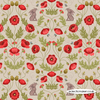 Lewis and Irene Fabrics - Poppies - Poppy & Hare on Natural