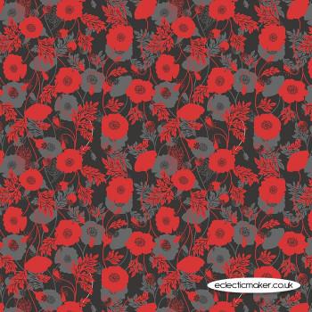 Lewis and Irene Fabrics - Poppies - Poppy Shadow on Black