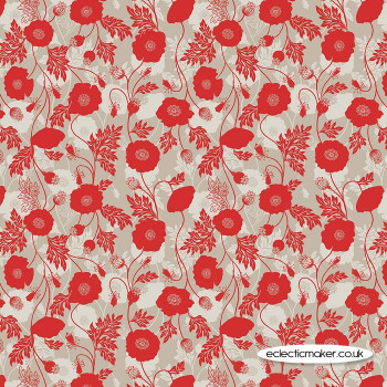 Lewis and Irene Fabrics - Poppies - Poppy Shadow on Natural
