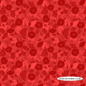 Lewis and Irene Fabrics - Poppies - Poppy Shadow on Red