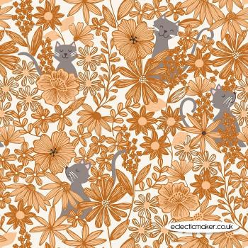 Lewis and Irene Fabrics - Purrfect Petals - Purrfect Petals Amber