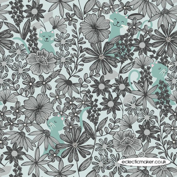 Lewis and Irene Fabrics - Purrfect Petals - Purrfect Petals Blue