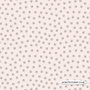 Lewis and Irene Fabrics - Purrfect Petals - Paws on Warm Cream