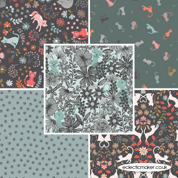 Lewis and Irene - Purrfect Petals - Fabric Bundle in Blue