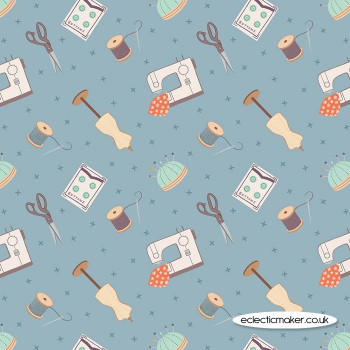 Lewis and Irene Fabrics - Small Things Crafts - Dressmaking on Grey Blue