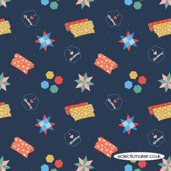Lewis and Irene Fabrics - Small Things Crafts - Quilting on Dark Blue