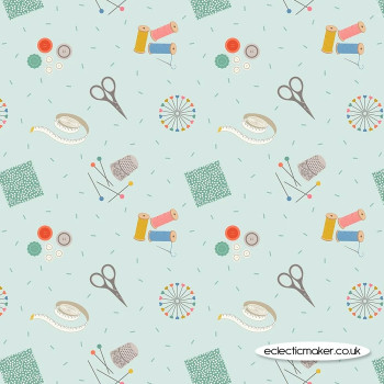 Lewis and Irene Fabrics - Small Things Crafts - Sewing on Light Blue