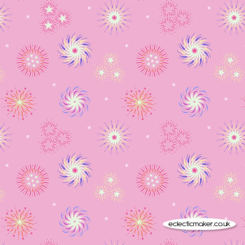 Lewis and Irene Fabrics - Small Things Glow - Fireworks on Pink