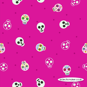 Lewis and Irene Fabrics - Small Things Glow - Sugar Skulls on Bright Pink