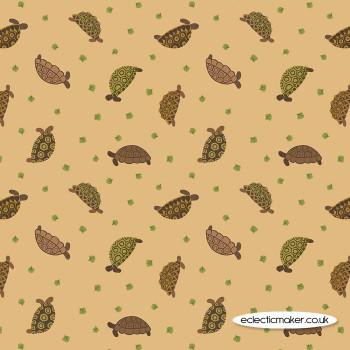 Lewis and Irene Fabrics - Small Things Pets - Tortoises on Sand