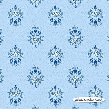 Lewis and Irene Fabrics - Teatime - Little Bird Roses on China Blue