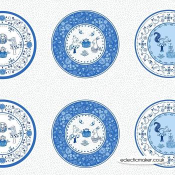 Lewis and Irene Fabrics - Teatime - Plate Panel