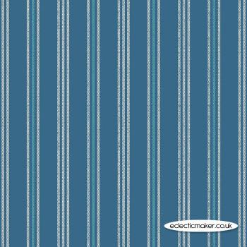 Lewis and Irene Fabrics - Thalassophile - Coastal Stripe on Dark Blue