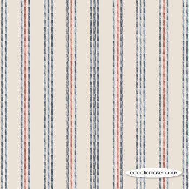 Lewis and Irene Fabrics - Thalassophile - Coastal Stripe on Dark Cream
