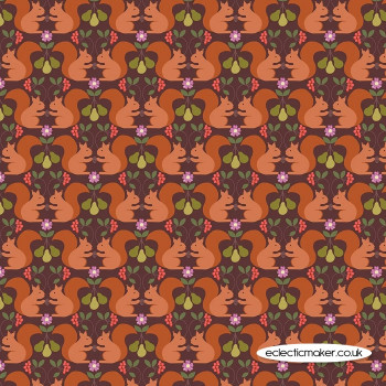 Lewis and Irene Fabrics - The Orchard - Red Squirrel on Dark