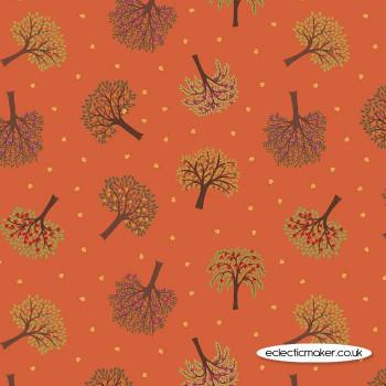 Lewis and Irene Fabrics - The Orchard - Trees on Burnt Orange
