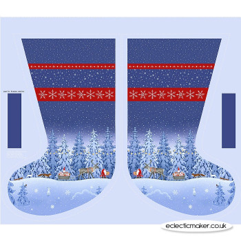 Lewis and Irene Fabrics - Tomten's Christmas by Eva Melhuish - Stocking Panel