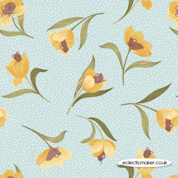 Lewis and Irene - Tulip Fields - Mouse & Tulip on Pale Blue