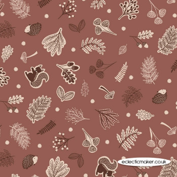 Lewis and Irene Fabrics - Under The Oak Tree - Scattered Woodland on Mid Brown